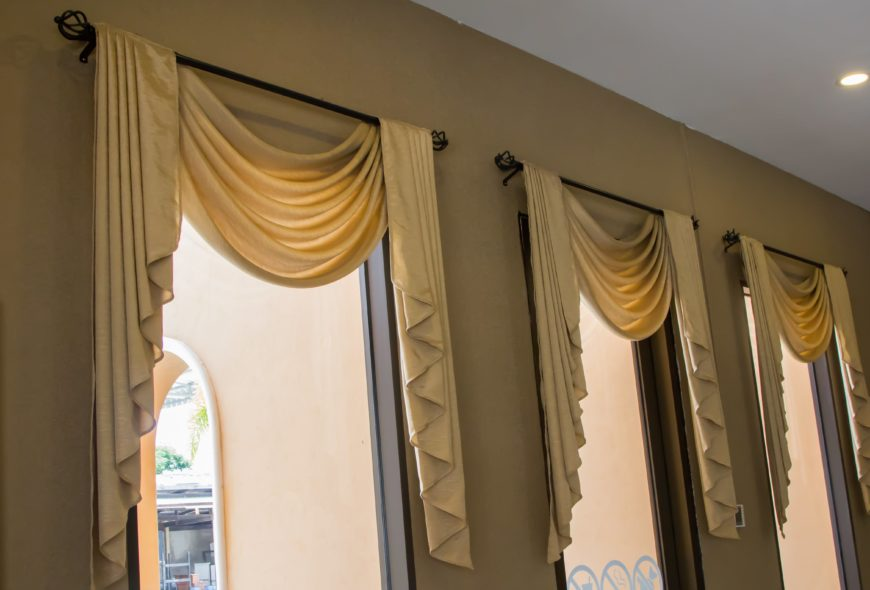 Elegant Golden Tie Up Curtains in Dining Room