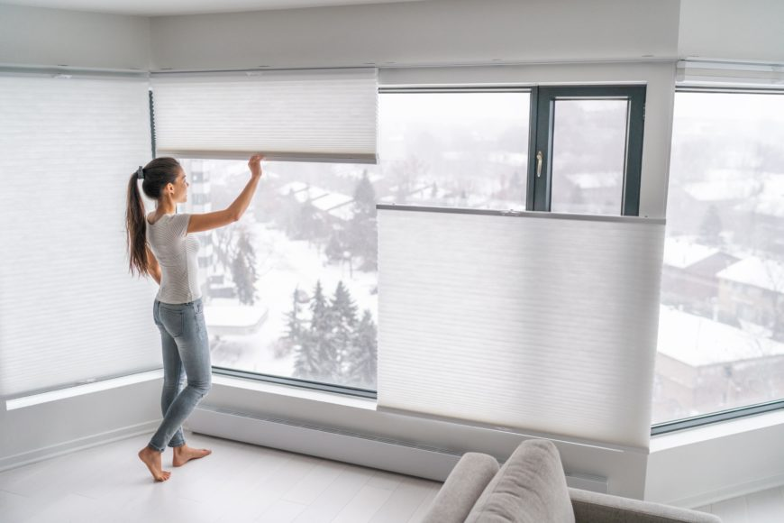 Modern Sheer Top Down Bottom Up Blinds in Chic Condo