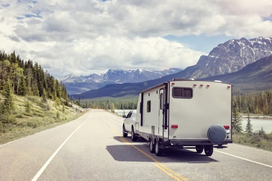 Travel Trailer attached to a car