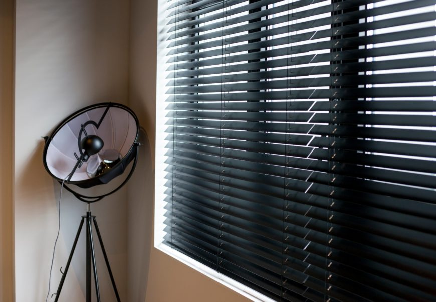 Black Venetian Wooden Blinds