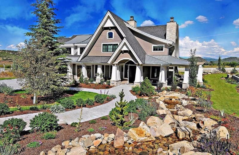 Landscaping design of a Craftsman-Style home.