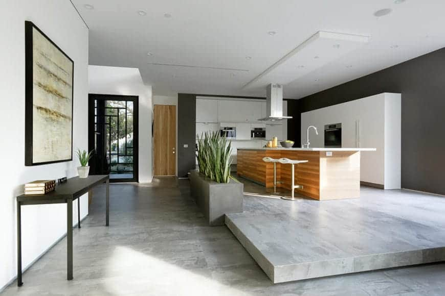 The kitchen area is on a raised platform of light gray marble flooring bordered with a gray planter filled with aloe plants. The wide and white ceiling of the kitchen is contrasted by the black walls that are mostly covered by white structures that houses the kitchen appliances.