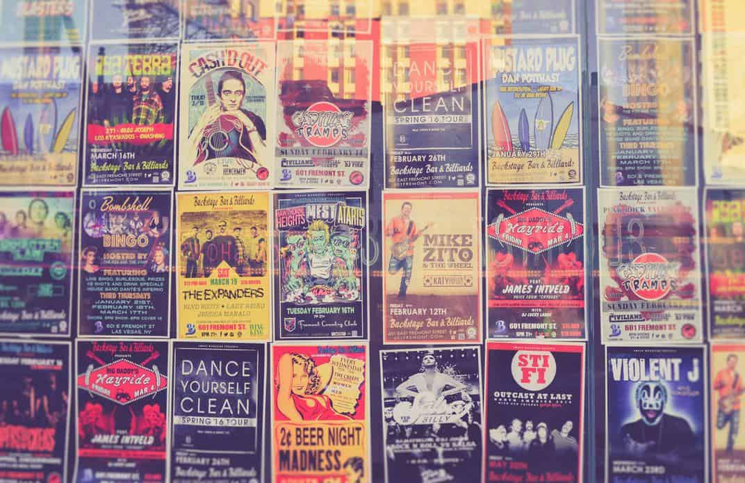 Music band posters on the wall