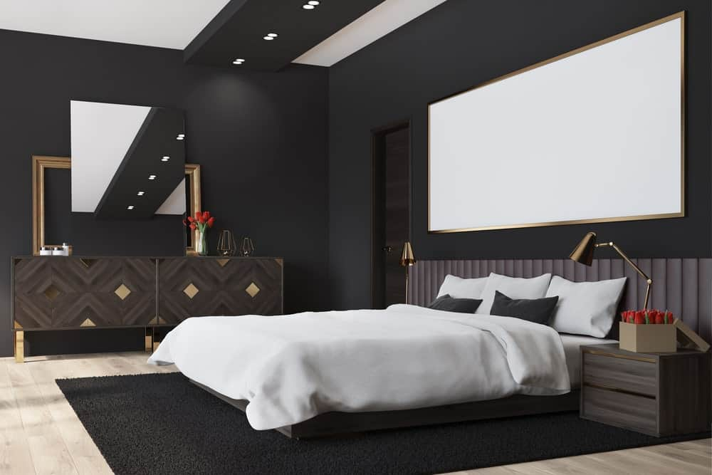 A master bedroom boasting walls finished in matte black. The hardwood flooring is topped by a black area rug.