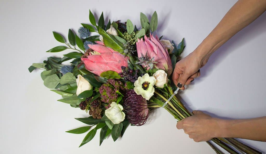 Bohemian bouquet arranged with the use of a zip tie.