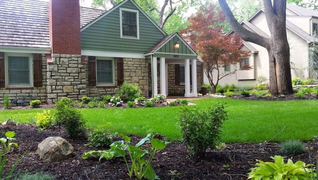 The well-maintained grassy carpet of the front lawn is surrounded by various shrubs and herbs and extends all the way to the sides of the house planted in intervals. This front lawn is dominated by a huge tree taller than the house and a colorful medium-sized tree by the entrance.