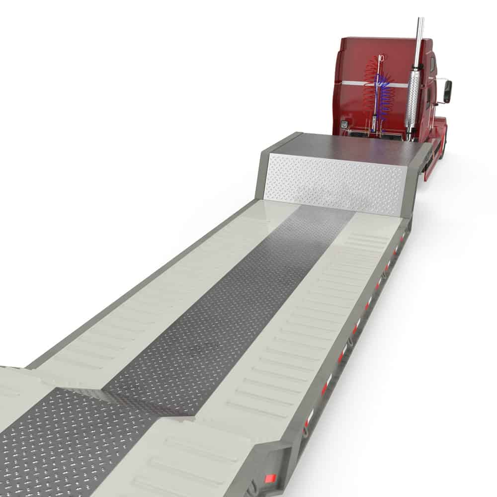 A step deck trailer 3D illustration