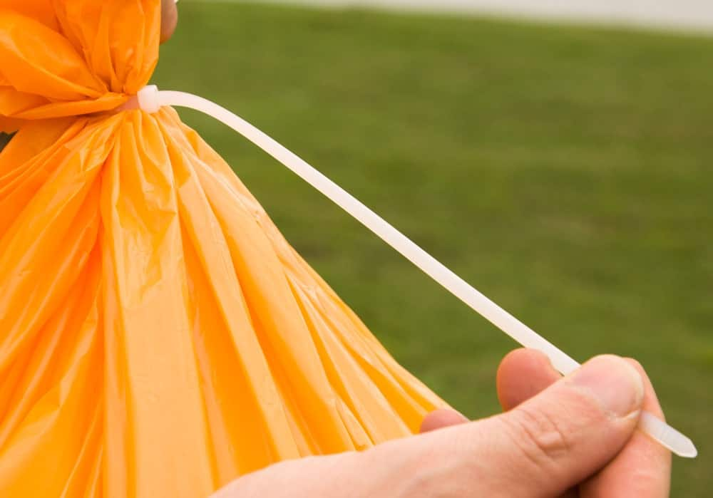 Yellow plastic bag sealed with a zip tie.