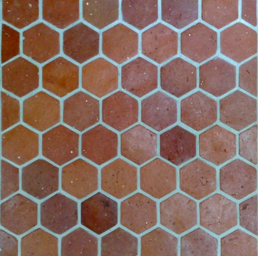 A close up look at this hexagonal reclaimed terracotta tiles flooring.