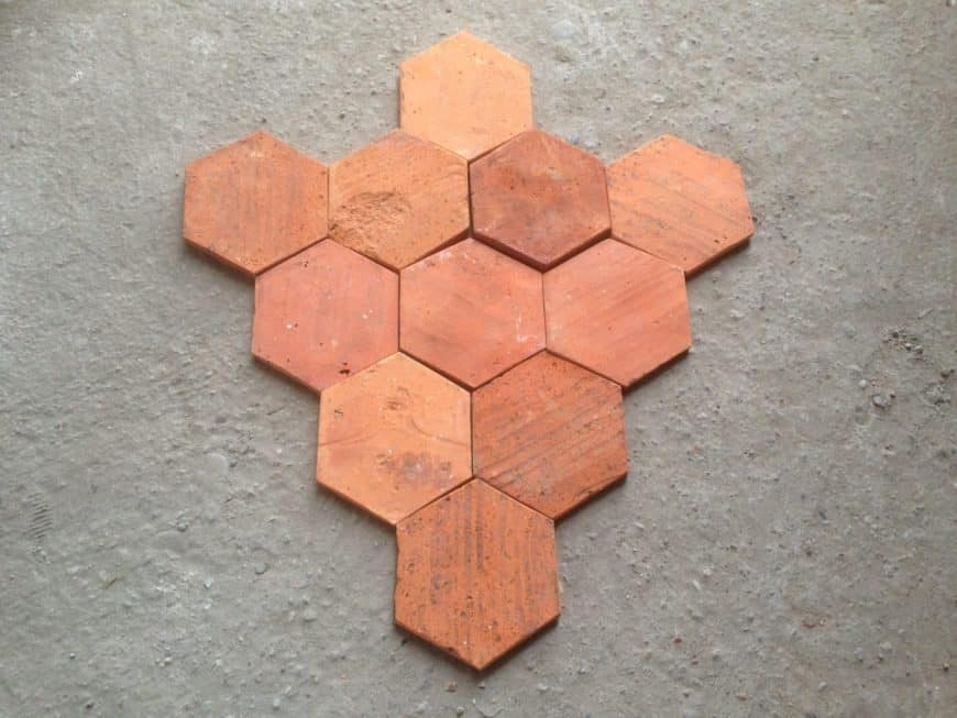 A focused shot at this yet-to-installed hexagonal terracotta tiles flooring.