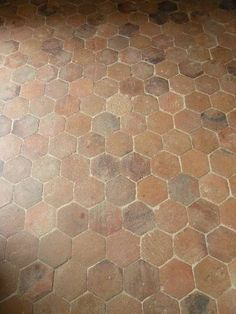 A hexagonal reclaimed terracotta tiles floors that have different finishes.
