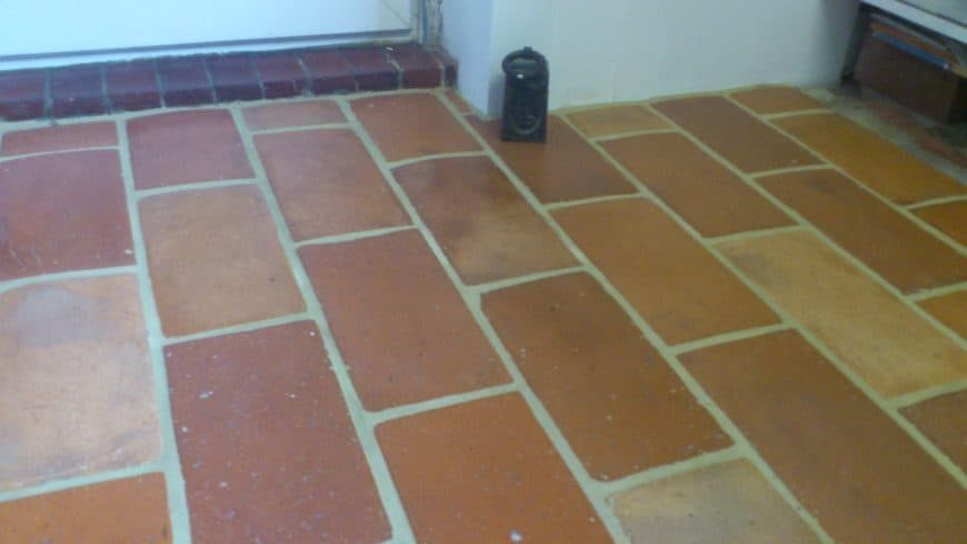 A close up look at this home's terracotta brick tiles flooring.