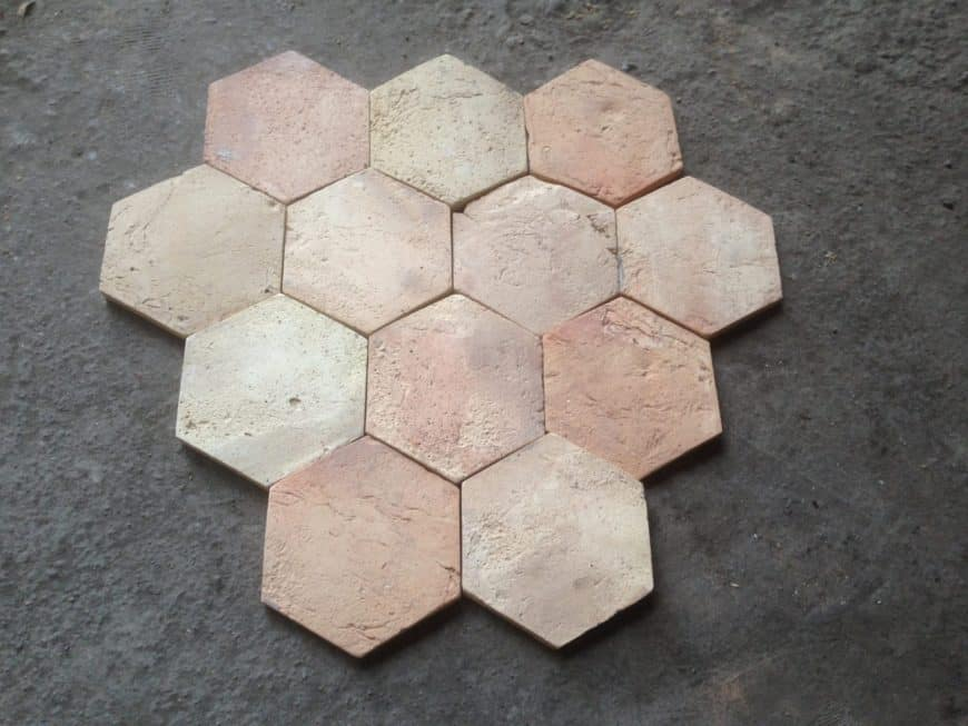 Hexagonal terracotta tiles flooring ready to install.