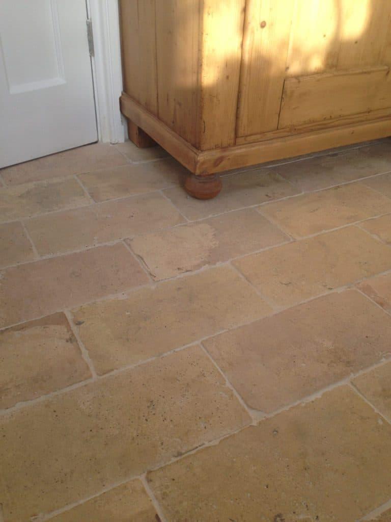 A focused shot at this light terracotta tiles floors.