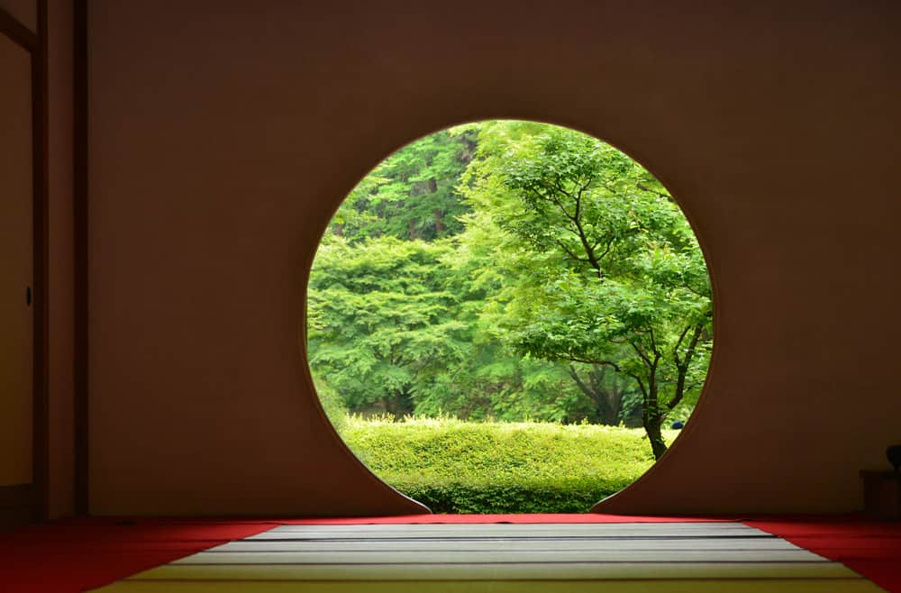 large round window in meditation space