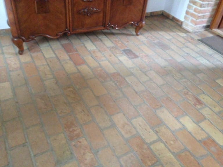 Pale terracotta tiles flooring in the home's interior.