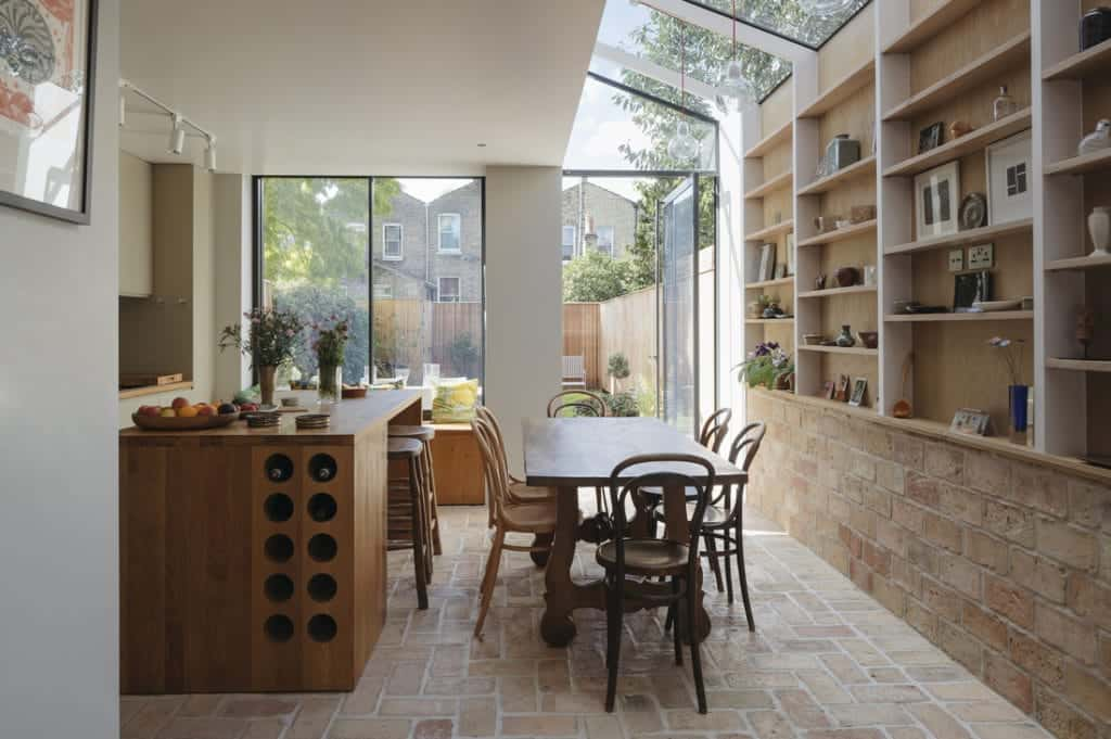 Another view of this kitchen area with terracotta brick tiles flooring.