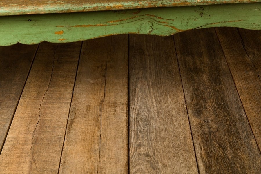 Close up of reclaimed wood flooring.