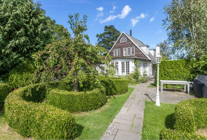 This is a Scandinavian-Style landscape of the front yard of a wooden simple house. This landscape is properly designed to look like a park with its gray stone walkways, trees surrounded by well-manicured hedges of shrubs and even a park lamp post.