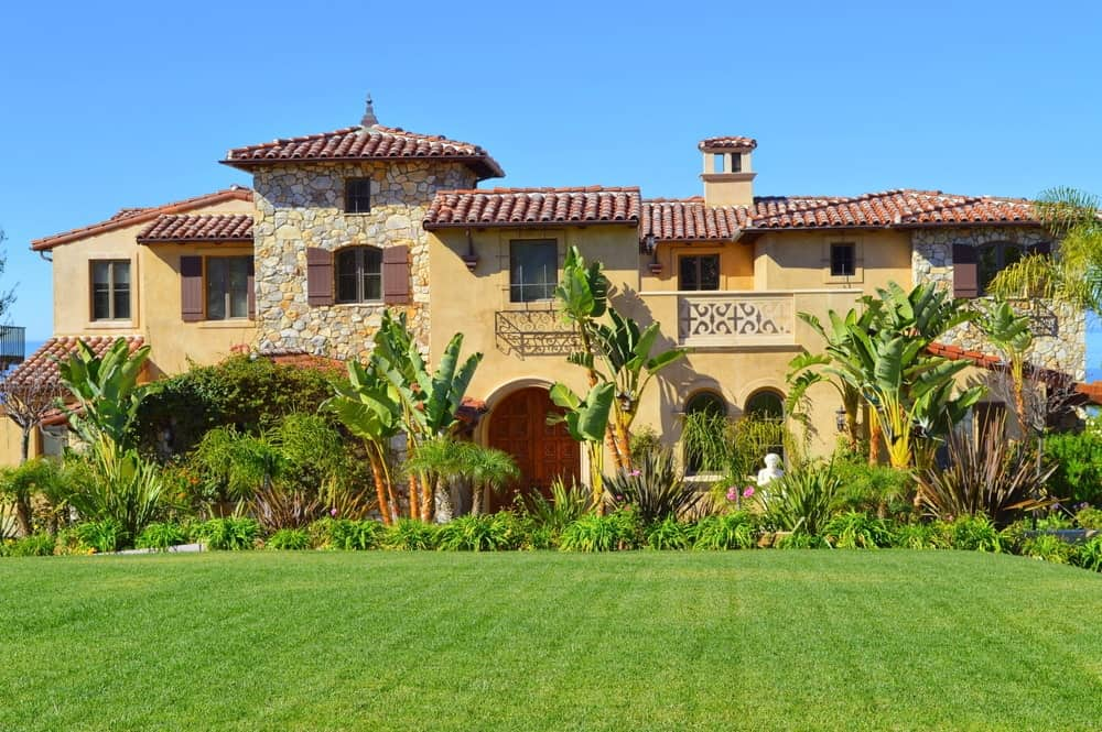 Exterior of a Spanish-Style Hacienda Home.