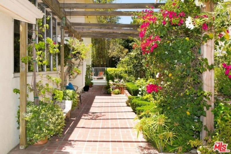 This is a Spanish landscape with a beautiful bricked floor right outside the window of the house. Colorful Bougainvillea flowers add color to the greenery supported by a wooden trellis extending over the whole area. A small bench is placed against the wall for a lovely reading nook or relaxation area.
