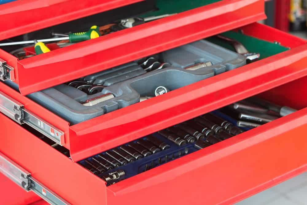 Red tools storage drawers.