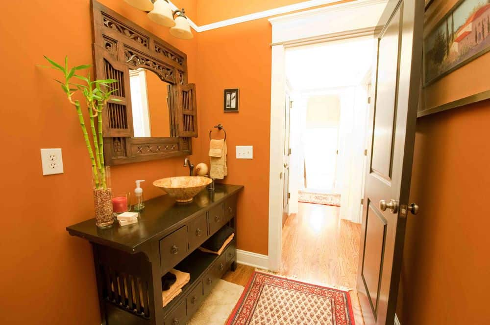 Orange primary bathroom featuring a classy counter with a charming vessel sink.