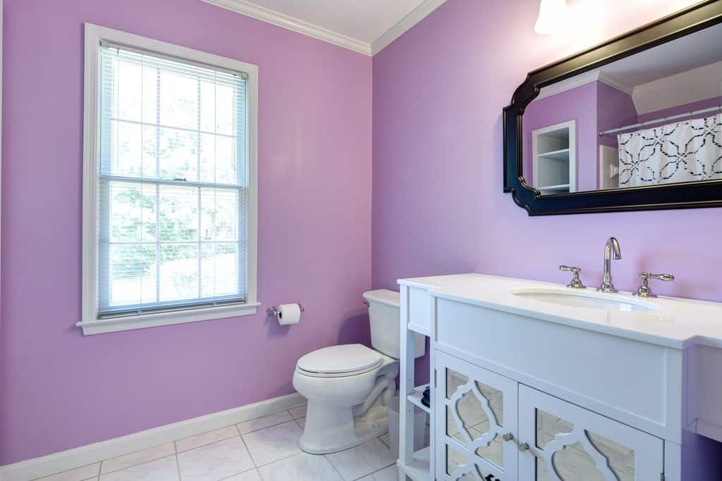 A primary bathroom with purple walls and tiles flooring. There's a white sink counter with a marble countertop.