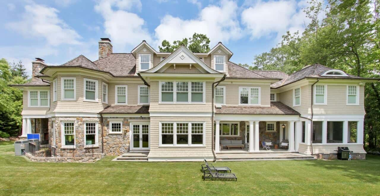 Stone & Shingle Transitional Manor Home in Round Hill, Greenwich