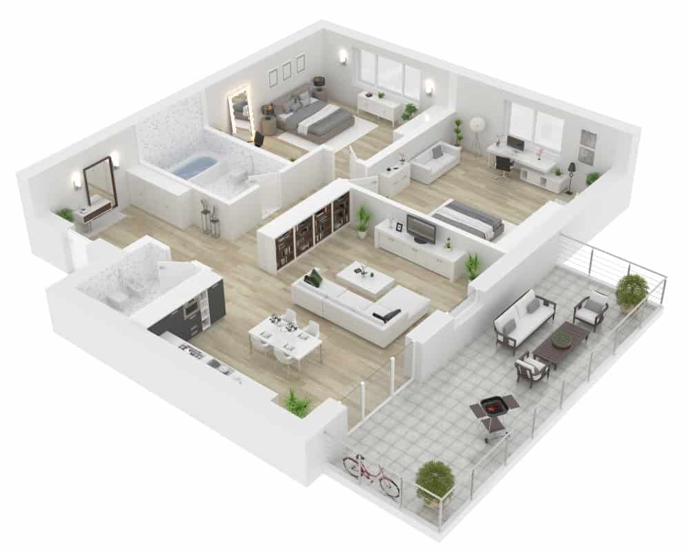 Example of an apartment 3D floor plan