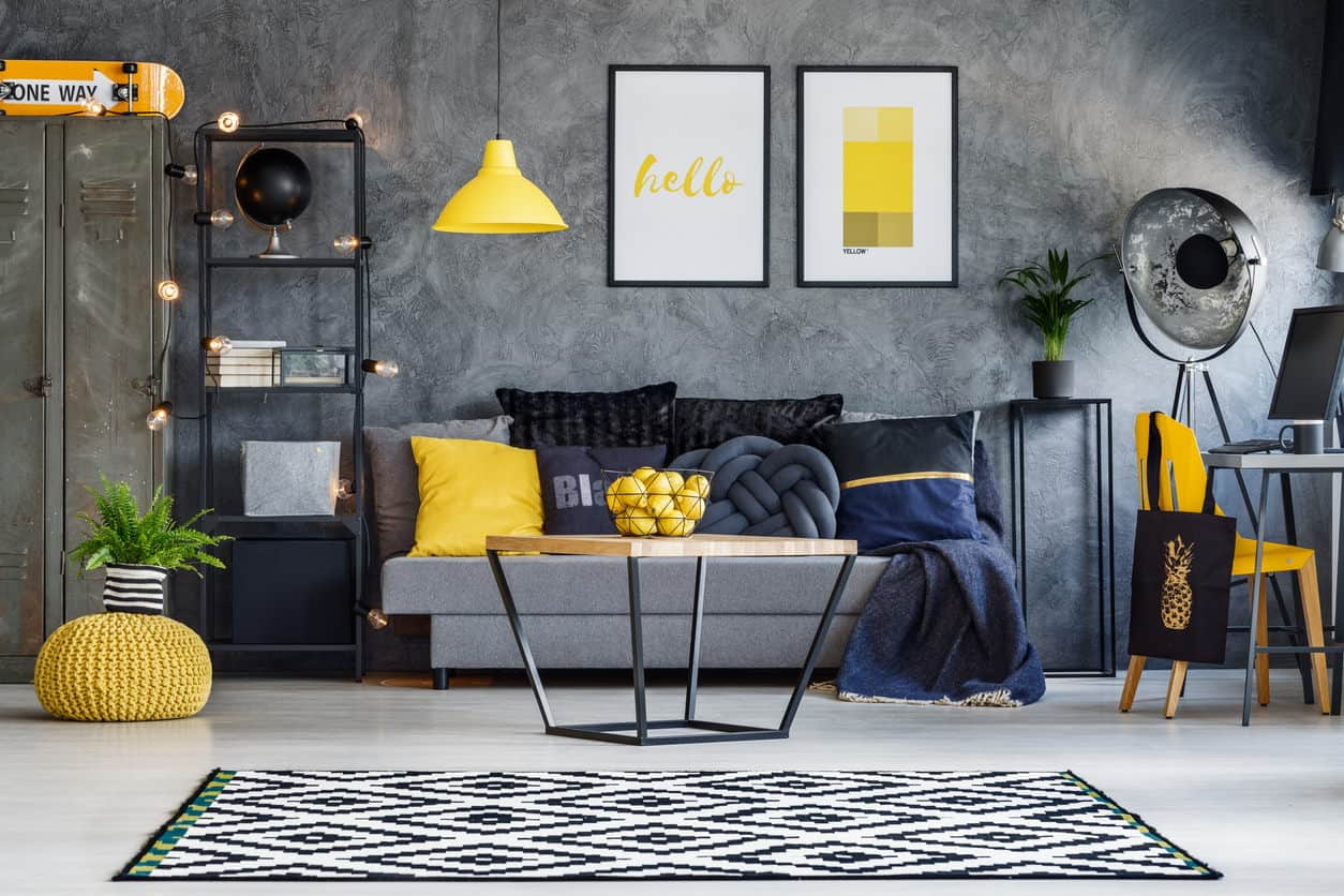Black and gray living room with splashes of color