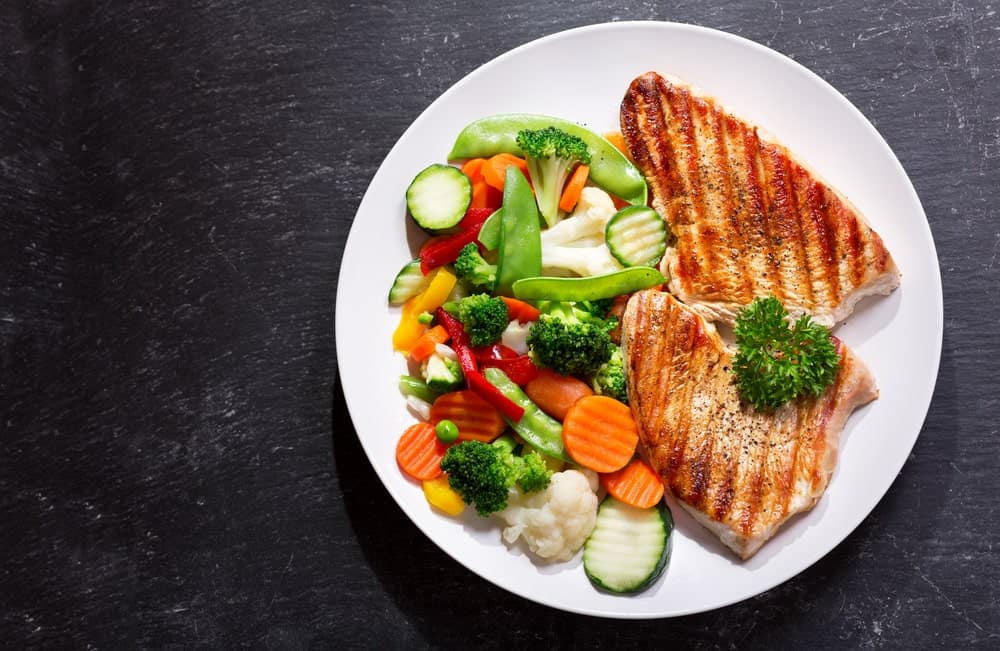 Colorful platter of chicken steak and vegetables