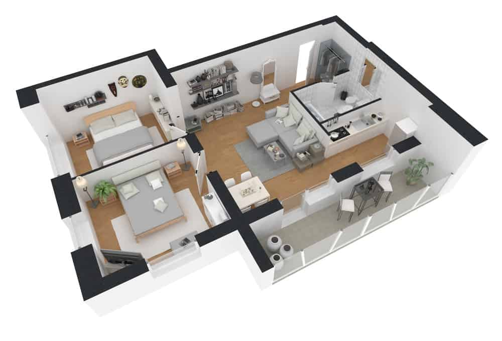 View 3D L Shaped House Design
