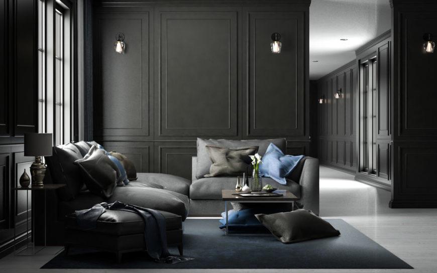 Cool black living room design