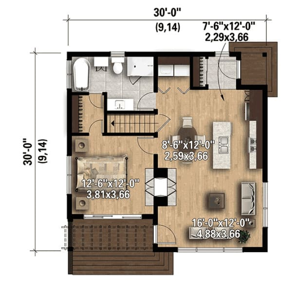Example one-bedroom floor plan