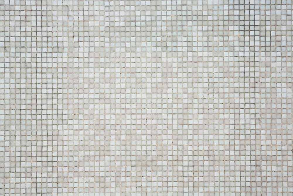 White and grey mosaic tile flooring