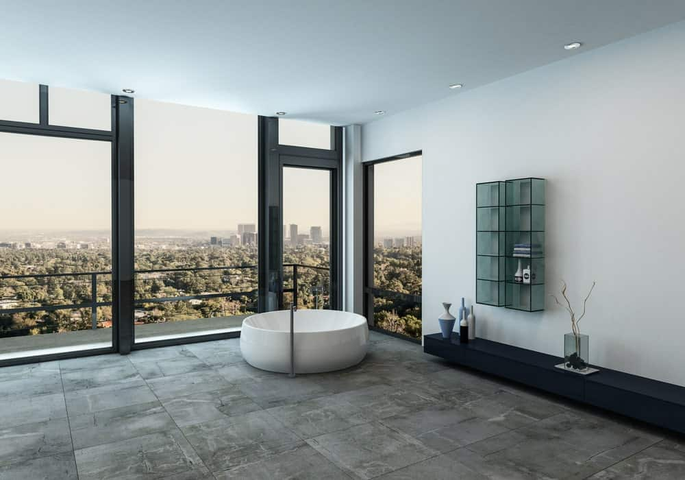 The application of travertine tiles in a luxury bathroom