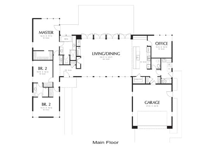 Floor plan of a modern style house