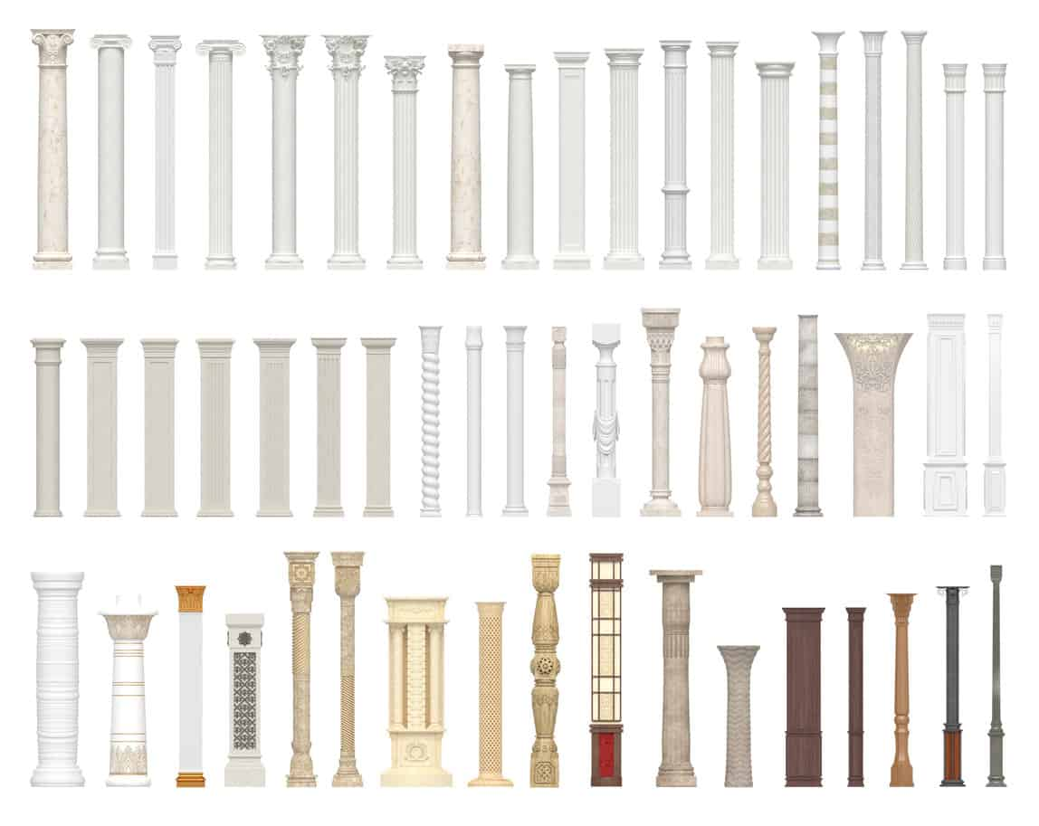 Illustration of different types of columns