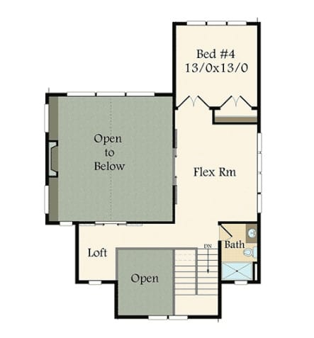 Loft area in house floor plan