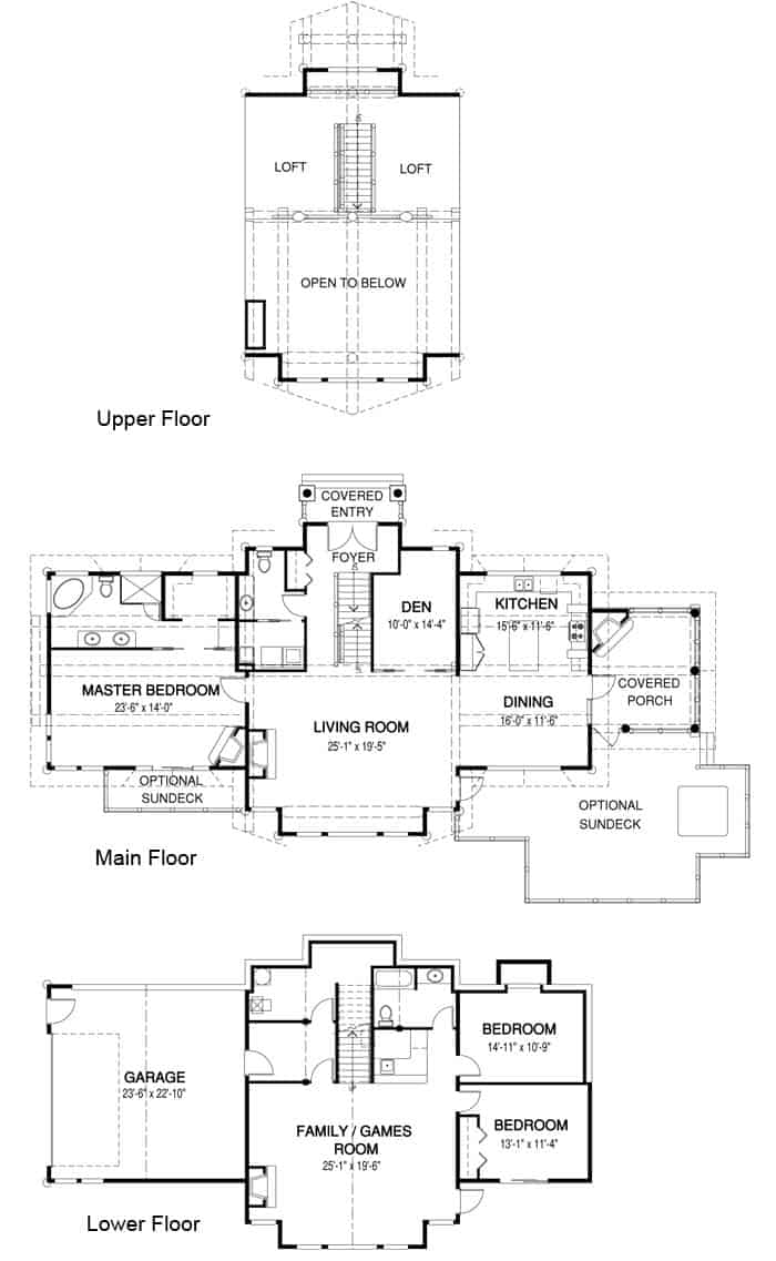Log home floor plan example