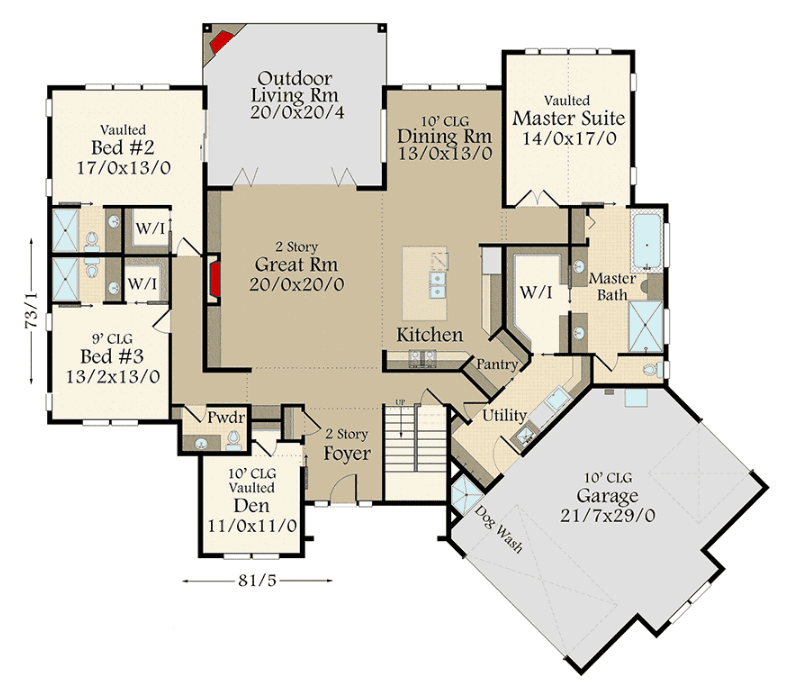Main floor layout of house with upper loft
