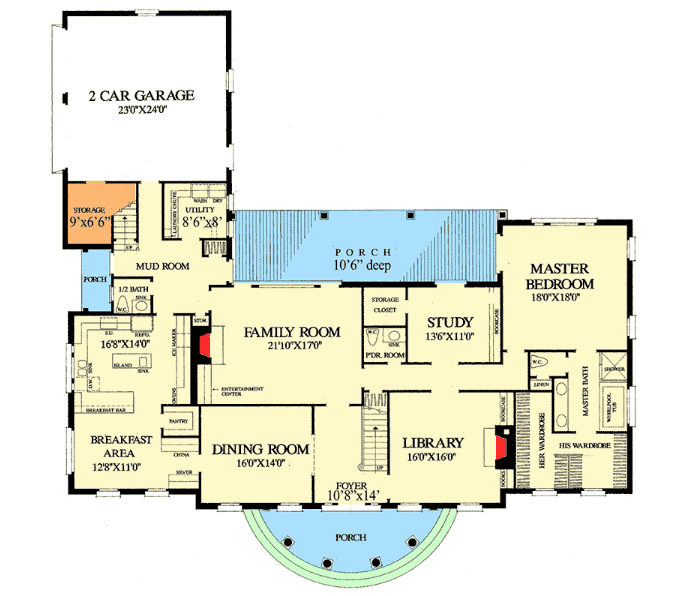 Main floor of Georgian style house - floor plan