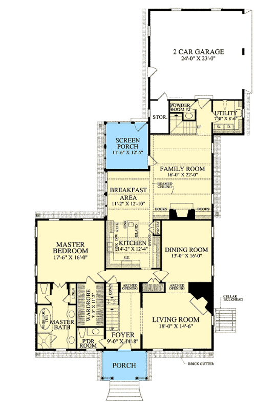 Main floor plan of cape code style house