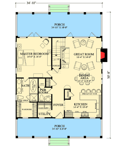 Main floor plan of cottage