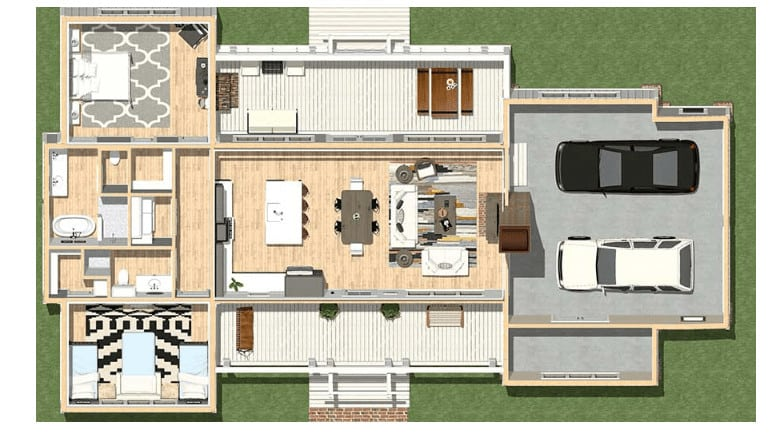 Main floor plan of house with two bedrooms
