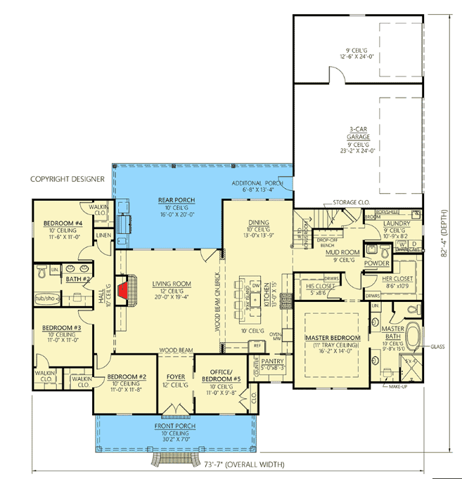 Main floor plan of modern farmhouse style house