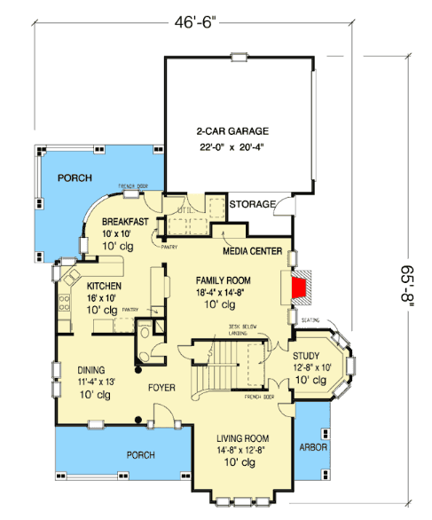 Main level floor plan of Victorian house