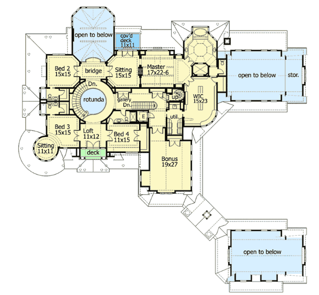 Mansion floor plan second floor
