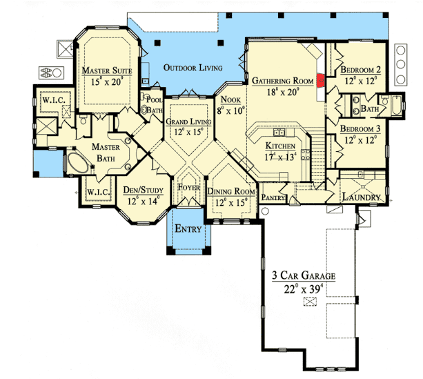 Mediterranean style house floor plan aug30